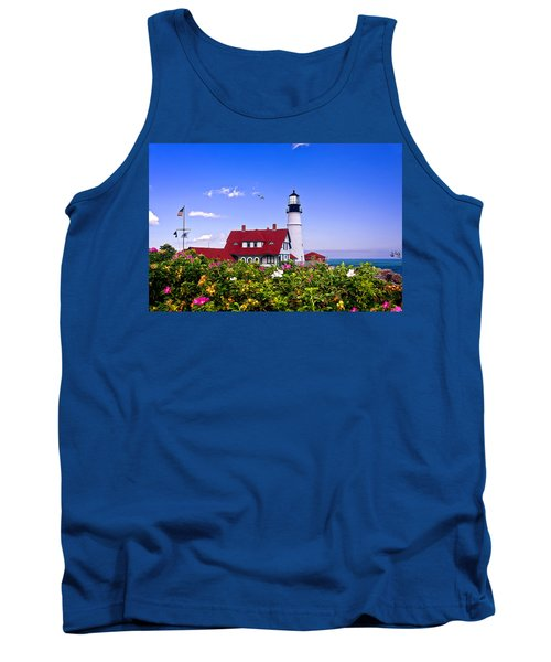 Portland Head Light And Roses Tank Top by Mitchell R Grosky