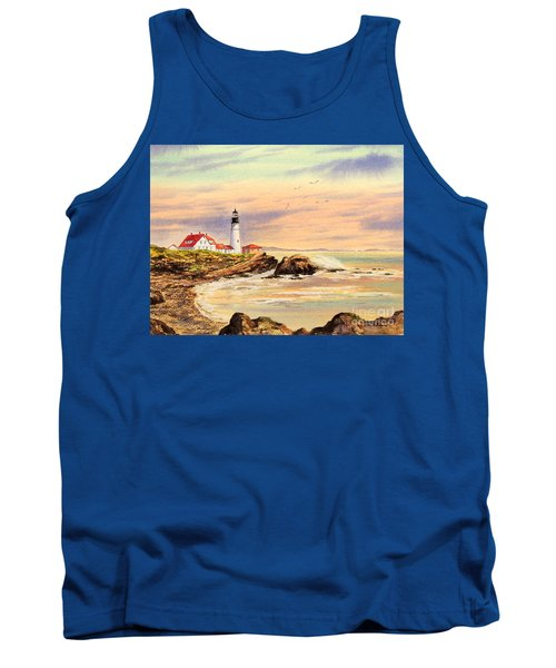 Tank Top featuring the painting Portland Head Lighthouse Maine by Bill Holkham