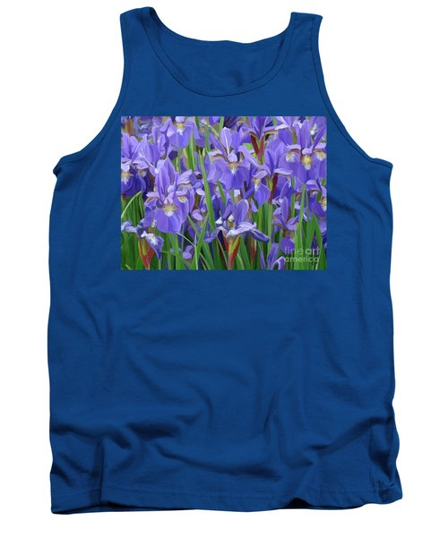 Tank Top featuring the painting Purple Iris Garden by Tim Gilliland