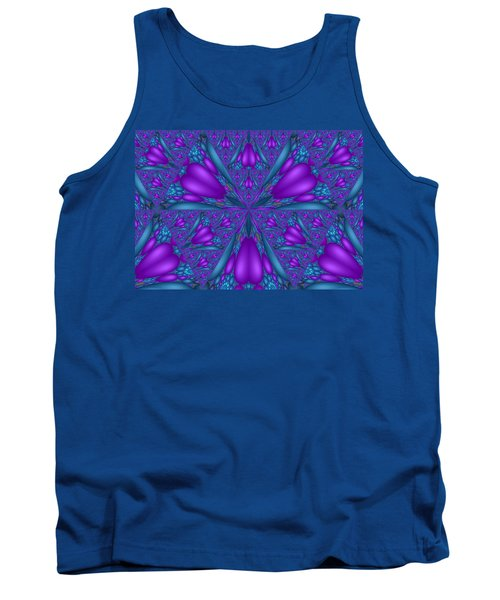 Tank Top featuring the digital art Purple Mixed Fractal Flower by Judi Suni Hall