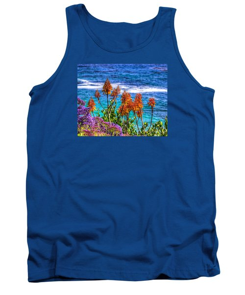 Tank Top featuring the photograph Red Aloe By The Pacific by Jim Carrell
