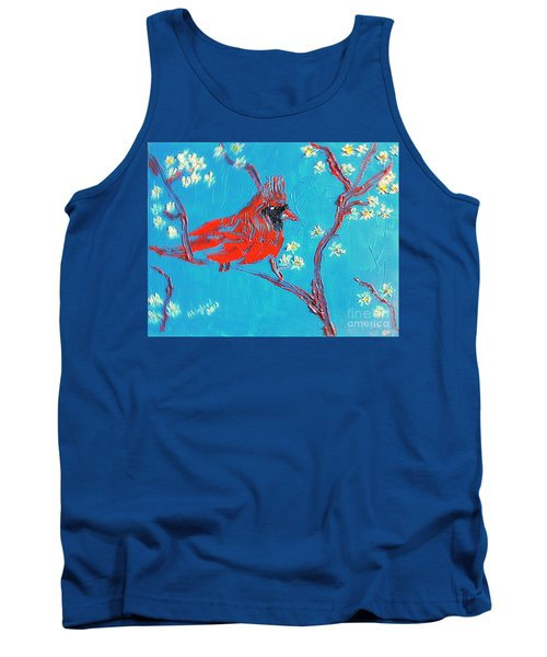 Tank Top featuring the painting Red Cardinal Spring by Richard W Linford