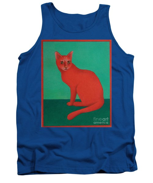 Tank Top featuring the painting Red Cat by Pamela Clements