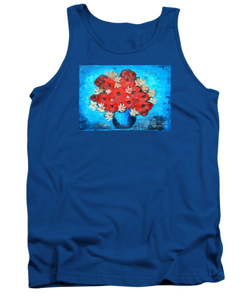 Red Poppies And White Daisies Tank Top