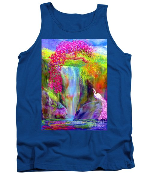 Waterfall And White Peacock, Redbud Falls Tank Top