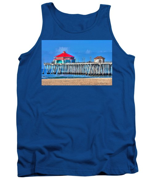 Ruby's Surf City Diner - Huntington Beach Pier Tank Top by Jim Carrell