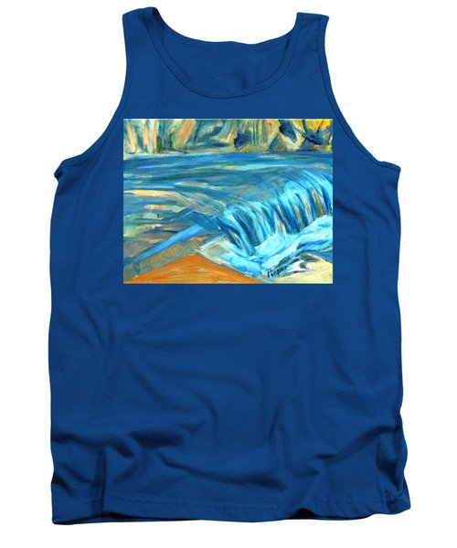 Tank Top featuring the painting Run River Run Over Rocks In The Sun by Betty Pieper