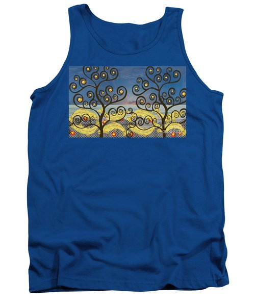 Tank Top featuring the digital art Salmon Dance Blue by Kim Prowse