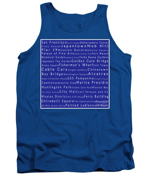 San Francisco In Words Blue Tank Top by Sabine Jacobs