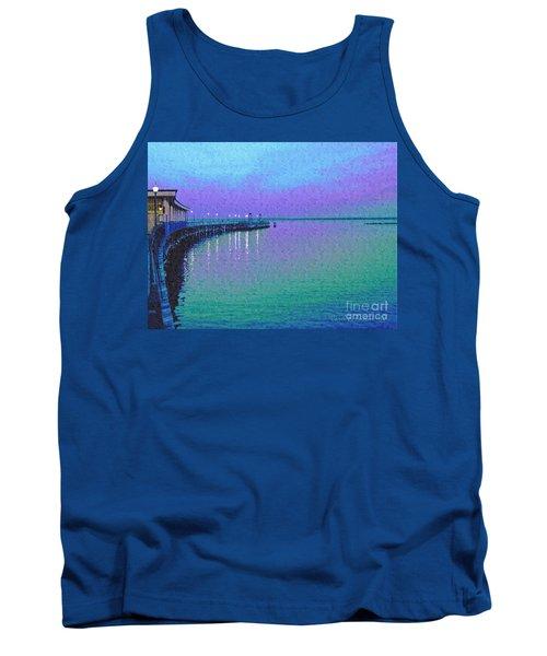 Painterly Seascape Purple Flurry Tank Top by Carol F Austin