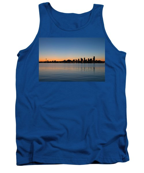 Tank Top featuring the photograph Seattle Washington Waterfront Skyline At Sunrise Panorama by JPLDesigns