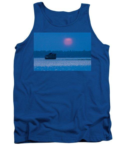 Setting Sun And Boat Tank Top