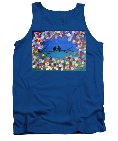 Tank Top featuring the painting Singing To The Stars Tree Bird Art Painting Print by Ella Kaye Dickey