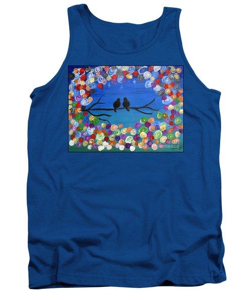 Singing To The Stars Tree Bird Art Painting Print Tank Top
