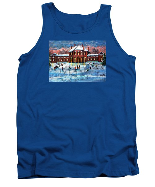 Tank Top featuring the painting Sledding At The Gore Estate by Rita Brown