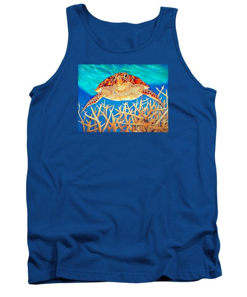 Sea  Turtle Soaring Over Staghorn Tank Top