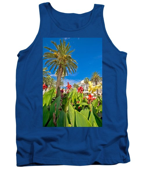 Split Riva Palms And Flowers Tank Top by Brch Photography