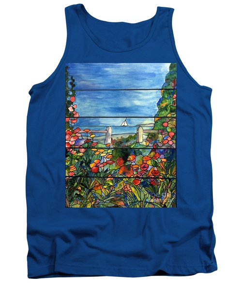 Stained Glass Tiffany Landscape Window With Sailboat Tank Top by Donna Walsh