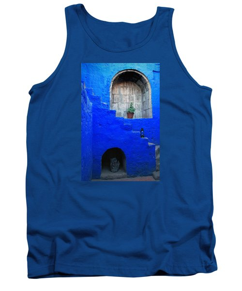 Staircase In Blue Courtyard Tank Top by RicardMN Photography