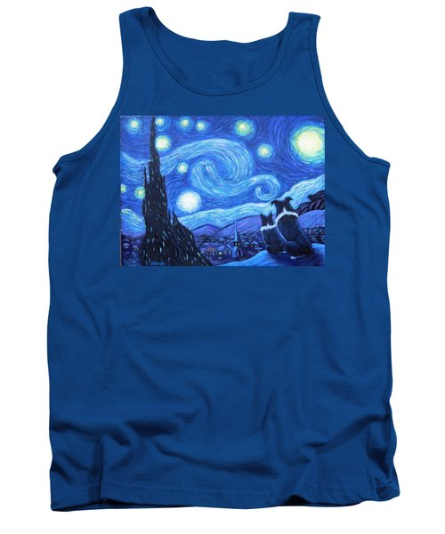 Tank Top featuring the painting Starry Night Border Collies by Fran Brooks
