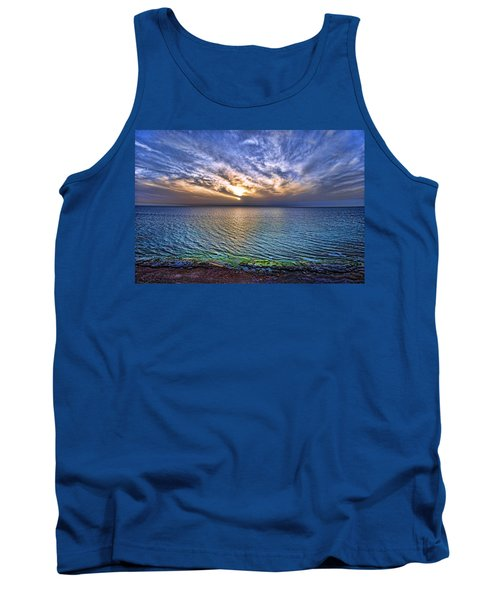 Sunset At The Cliff Beach Tank Top by Ron Shoshani