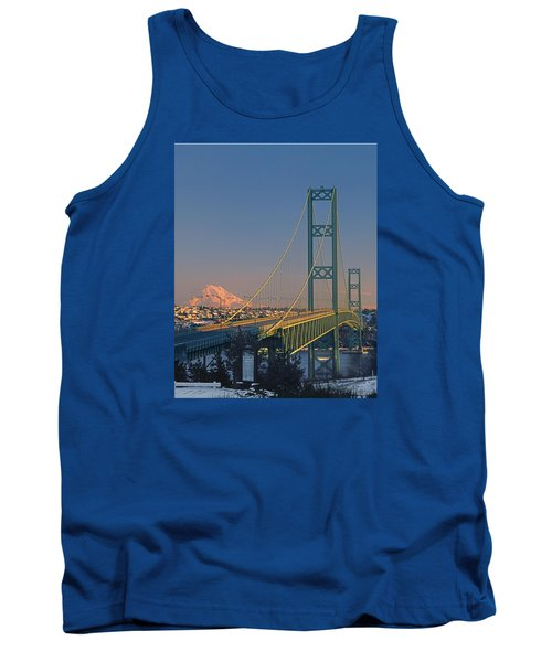 1a4y20-v-sunset On Rainier With The Tacoma Narrows Bridge Tank Top