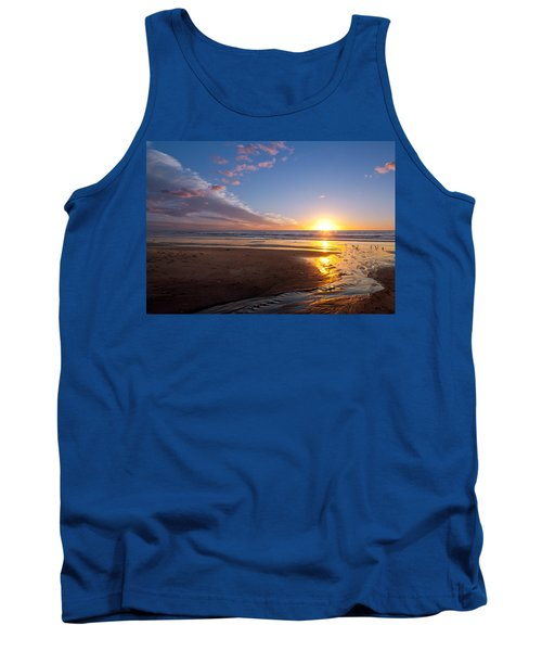 Sunset On The Beach At Carlsbad. Tank Top by Melinda Fawver