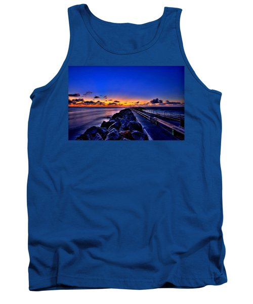 Tank Top featuring the painting Sunrise On The Pier by Bruce Nutting