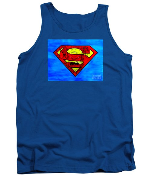 Tank Top featuring the drawing Superman And Doomsday R Y D by Justin Moore