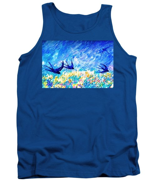 Tank Top featuring the painting Swallows In Summer by Trudi Doyle