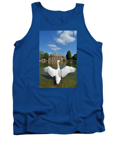 Swan Spreads Wings In Front Of State Theatre Stuttgart Germany Tank Top by Matthias Hauser