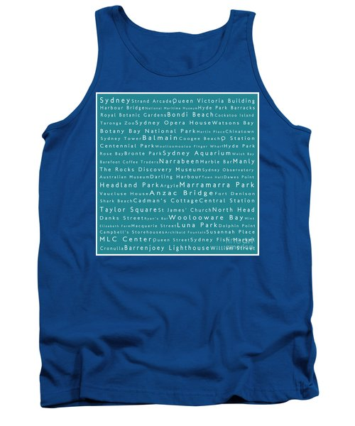 Sydney In Words Teal Tank Top by Sabine Jacobs