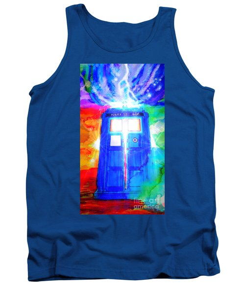 Tank Top featuring the drawing Tardis by Justin Moore