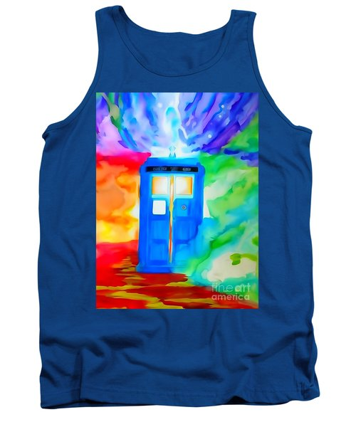Tank Top featuring the drawing Tardis Watercolor Edition by Justin Moore