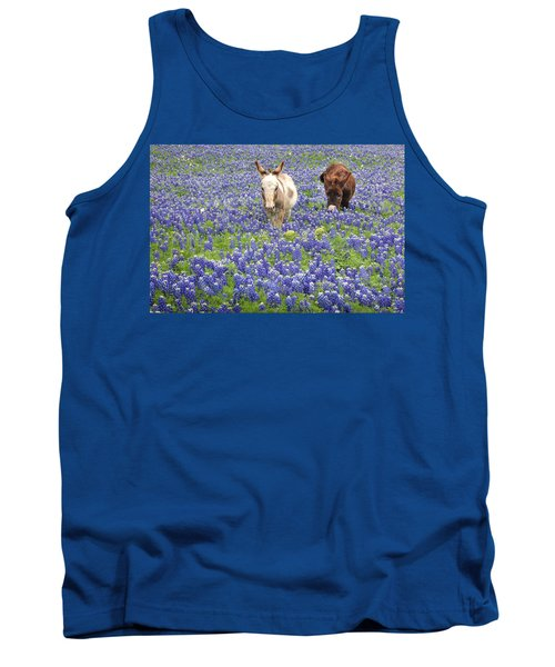 Tank Top featuring the photograph Texas Donkeys And Bluebonnets - Texas Wildflowers Landscape by Jon Holiday