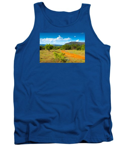 Tank Top featuring the photograph Texas Hill Country Red Dirt Road by Darryl Dalton