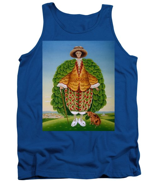 The New Vestments Ivor Cutler As Character In Edward Lear Poem, 1994 Oils And Tempera On Panel Tank Top by Frances Broomfield