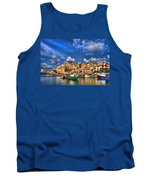 Tank Top featuring the photograph the old Jaffa port by Ron Shoshani