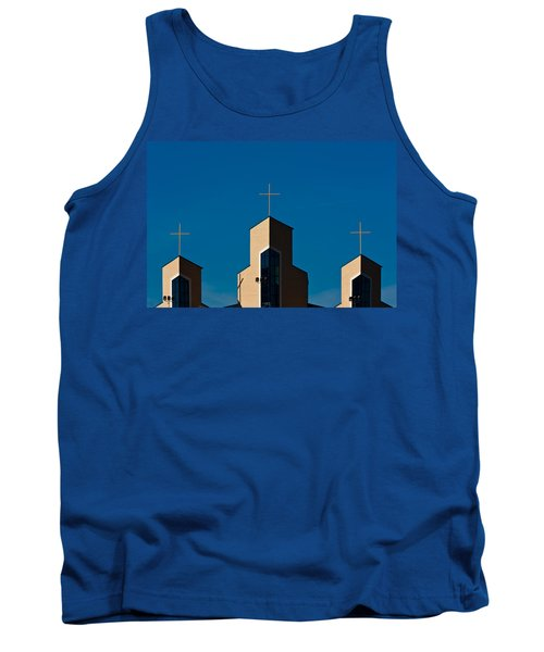 Tank Top featuring the photograph Three Crosses Of Livingway Church  by Ed Gleichman
