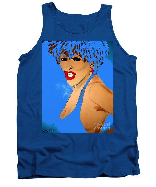Tina Turner Fierce Blue 2 Tank Top by Saundra Myles