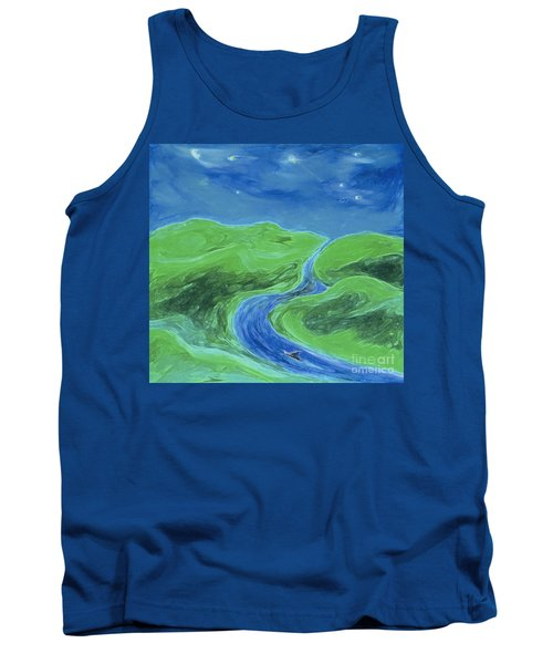 Tank Top featuring the painting Travelers Upstream By Jrr by First Star Art
