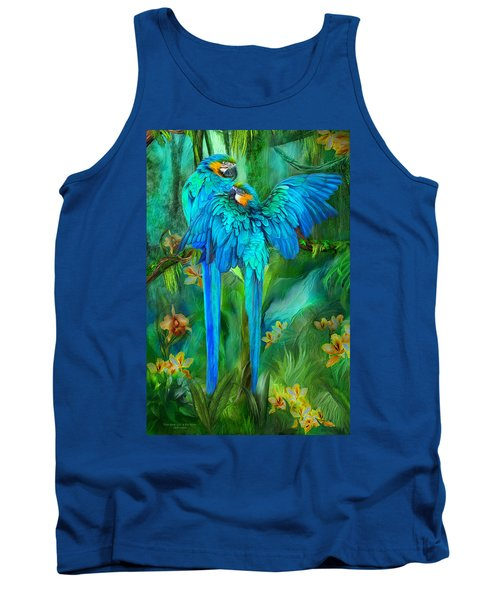 Tank Top featuring the mixed media Tropic Spirits - Gold And Blue Macaws by Carol Cavalaris