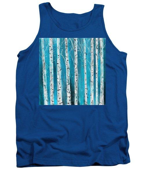 Turquoise Birch Trees II- Turquoise Art Tank Top
