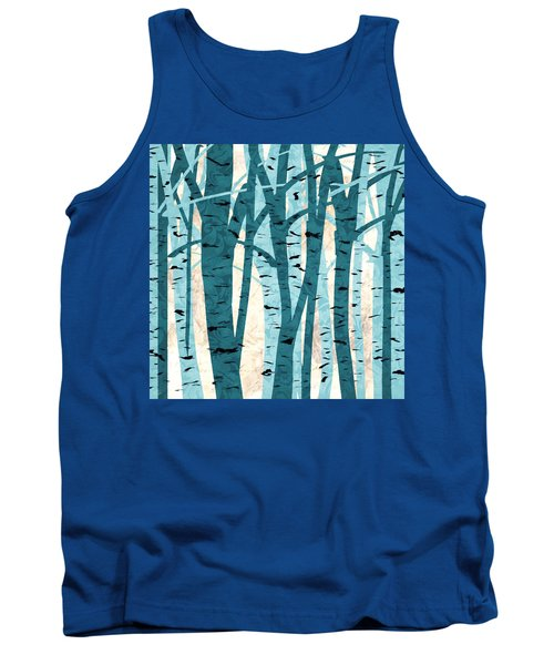 Turquoise Birch Trees Tank Top