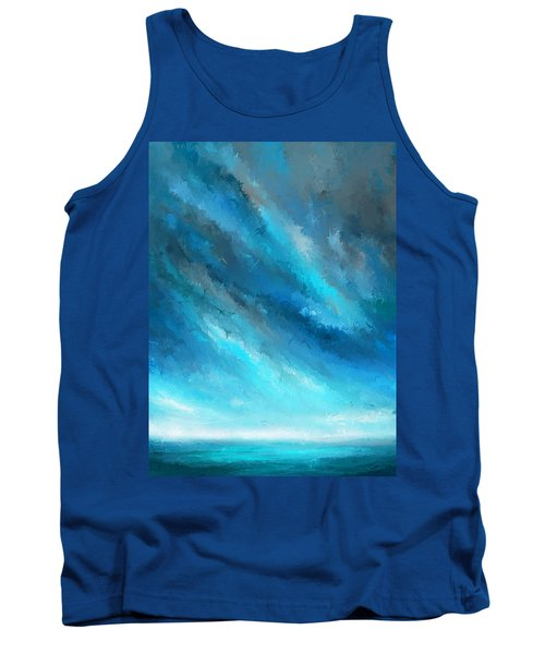 Turquoise Memories - Turquoise Abstract Art Tank Top