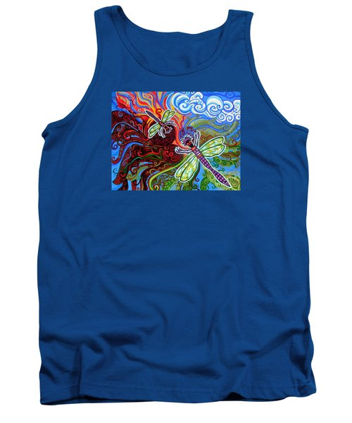 Two Dragonflies Tank Top by Genevieve Esson
