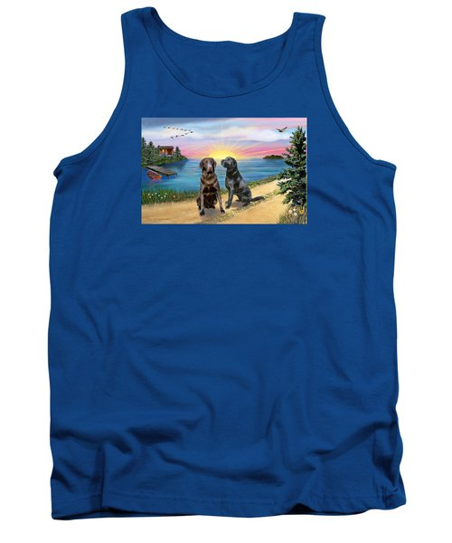 Two Labs At The Lake Tank Top