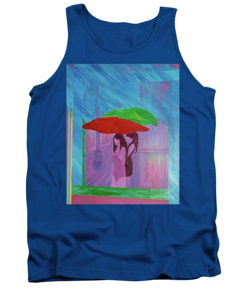Tank Top featuring the painting Umbrella Girls by First Star Art