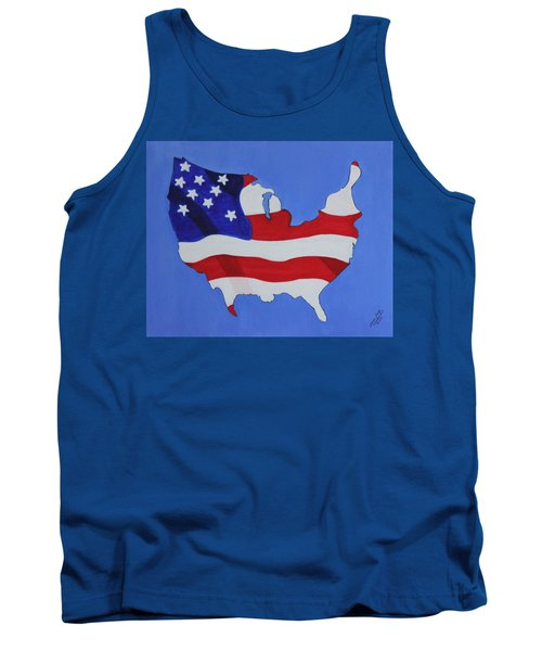 Us Flag Tank Top by Lorna Maza