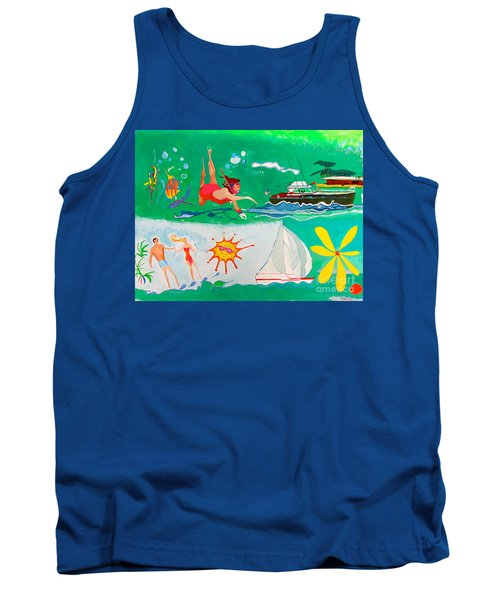 Tank Top featuring the painting Vacation All I Ever Wanted by Beth Saffer